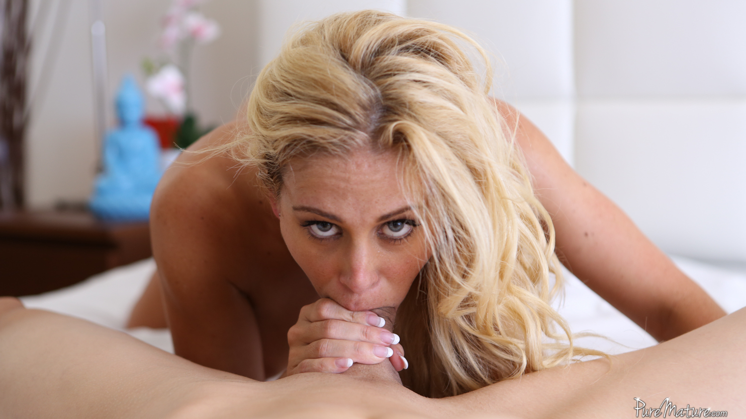 Puremature blonde milf cherie deville lube up anal fuck pool 1